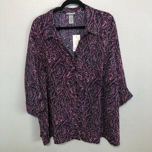 NWT Plus Size Pink/Black/White Paisley Button Down Blouse